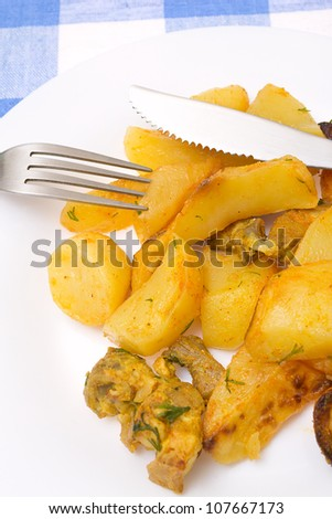 slices of fried potato  with pork