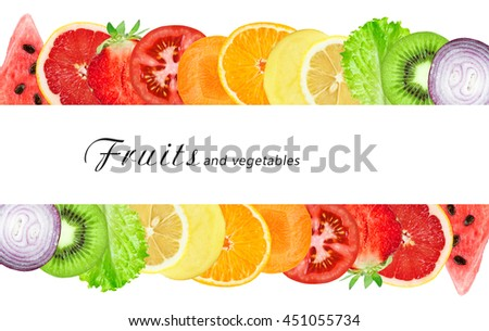Slices of fruits and vegetable. Fresh food. Food concept
