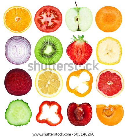 Slices of fruits and vegetables. Fresh food. Isolated