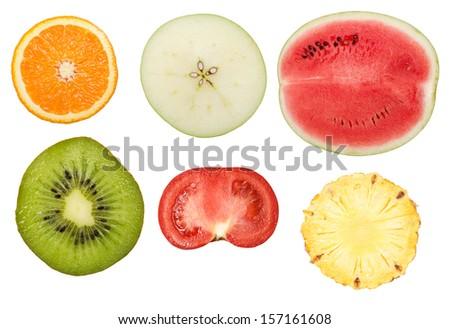 slices of fruits isolated on white background - stock photo