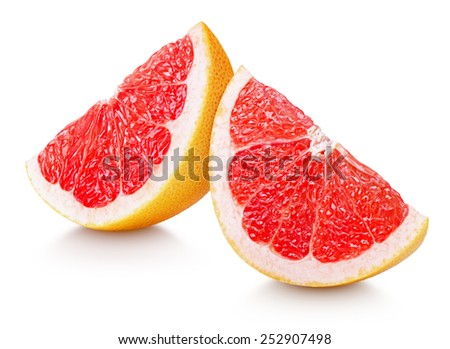 Slices of grapefruit citrus fruit isolated on white with clipping path - stock photo
