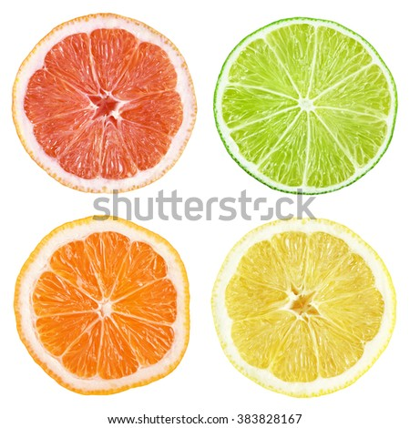 Slices of grapefruit, lime, lemon, orange isolated on white with clipping path