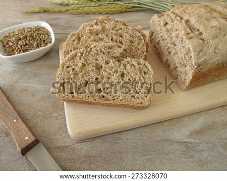 Slices of green spelt bread - stock photo