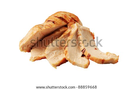 Slices of grilled chicken breast - stock photo