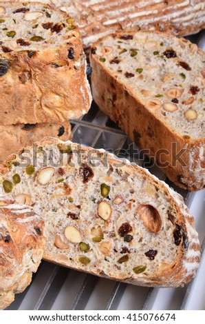 Slices of healthy bread on the tray    - stock photo