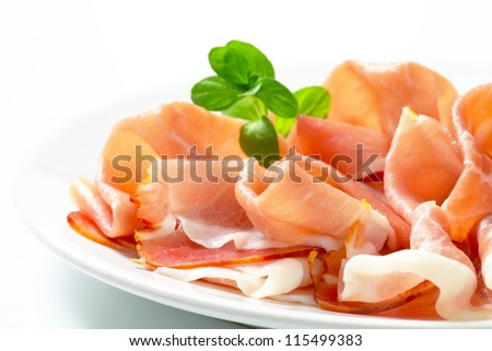 Slices of Italian prosciutto on a plate