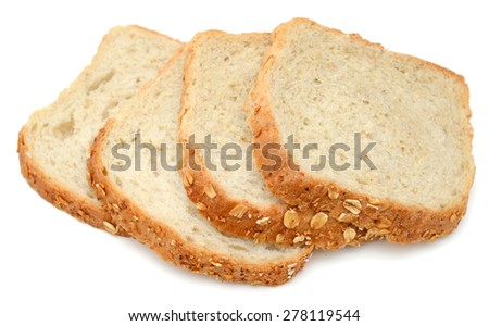slices of oat bread isolated on white  - stock photo