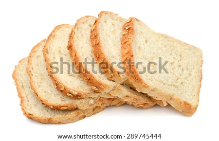 slices of oat bread on white background