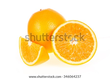 Slices of Orange Isolated on White Background