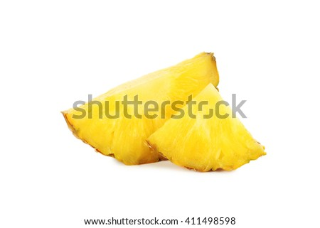 Slices of pineapple isolated on a white