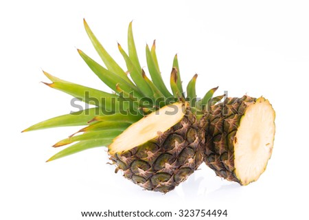 slices of pineapple isolated on white background