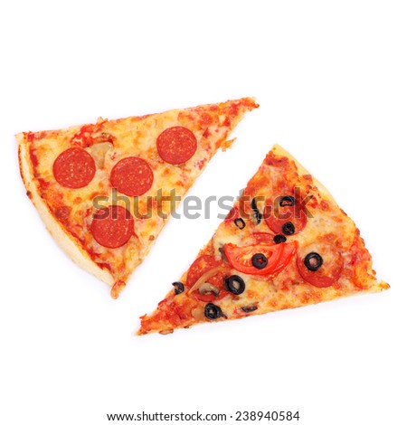 slices of pizza isolated on white - stock photo