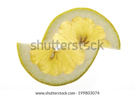 Slices of pomelo, elevated view - stock photo