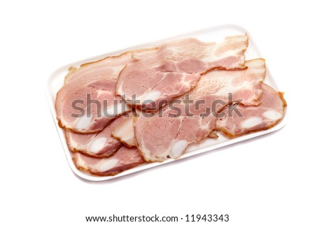 Slices of pork on a white background