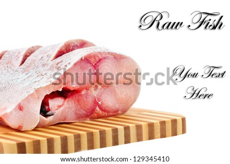 Slices of raw carp  on a white background.Isolated - stock photo