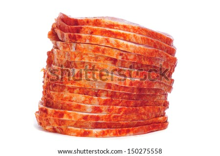 slices of raw marinated tenderloin on a white background - stock photo