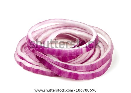 slices of red onion isolated on white