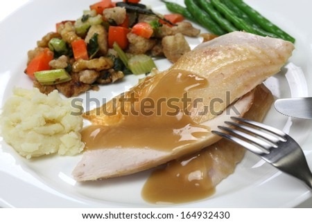 slices of roast turkey with stuffing, thanksgiving day dinner - stock photo