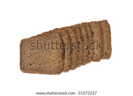 Slices of rye bread isolated on white background with clipping path