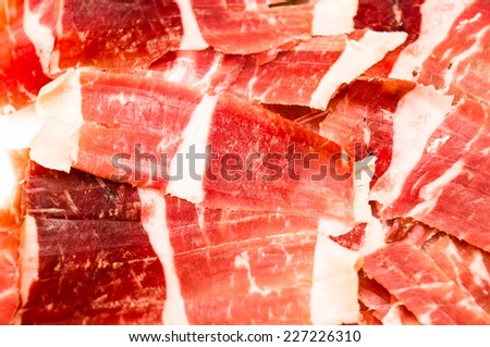 slices of serrano ham  - stock photo