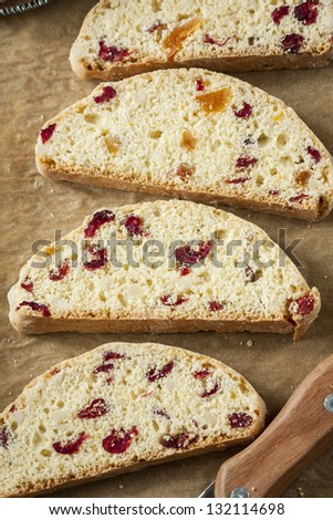 Slices of sweat bread with dried fruit. - stock photo