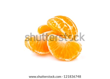 slices of tangerine, isolated on white background - stock photo