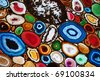 Slices of the colorful polished agate stones - stock photo