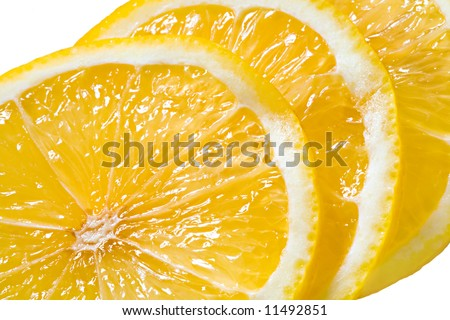 Slices of the cut lemon close up