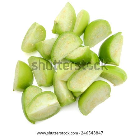 Slices of Tomatillos or Green Tomatoes Isolated on White