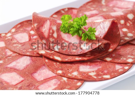 Slices of traditional bloody head cheese