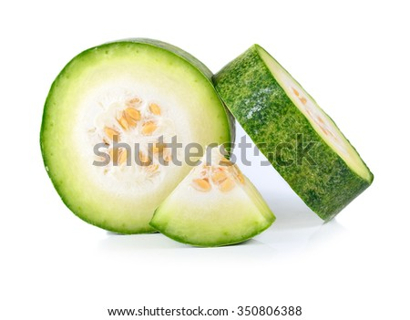 Slices of wax gourd on white background - stock photo