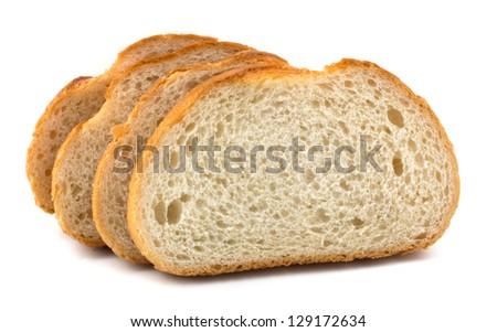 Slices of white bread isolated on white background - stock photo