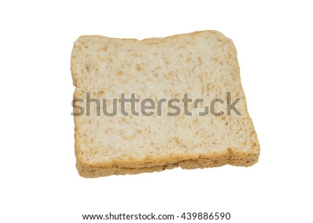 slices of whole wheat bread clean food breakfast on happy morning soft focus isolated on white background focus on front bread