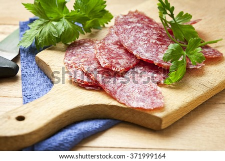 Slices sausage salami - stock photo