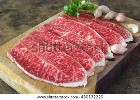 Slide chuck beef preparation for cooking