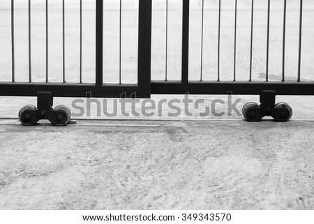 Slide door with wheel bearing. - stock photo