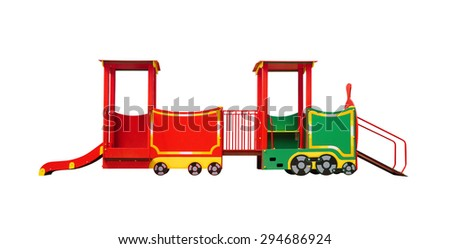 Slide in the form of train for playground isolated on white background
