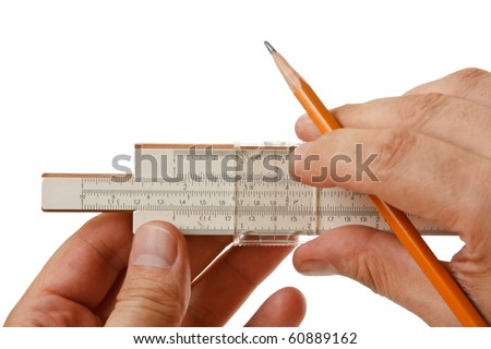 slide rule in hand  isolated on a white background - stock photo