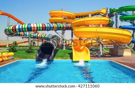 sliders, water park. - stock photo