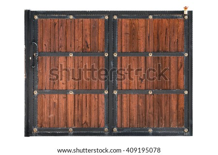 Sliding door with iron frame and wooden panel isolated on white background - stock photo