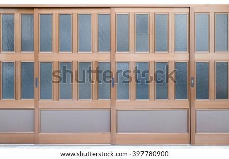 sliding glass door isolated on white background - stock photo