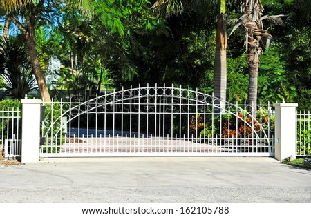 Sliding Residential Security Gate System  - stock photo