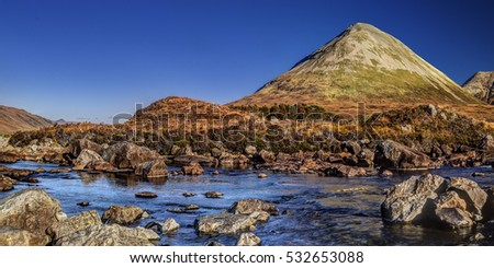 Sligachan Glen, Marsco mountain, Skye, Inner Hebrides, Highlands, Scotland. It is close to the Cuillin mountains and provides a good viewpoint for seeing the Black Cuillin mountains