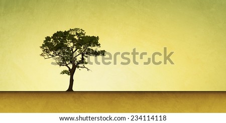 Slightly Grungy Landscape Illustration with Lone Tree - stock photo
