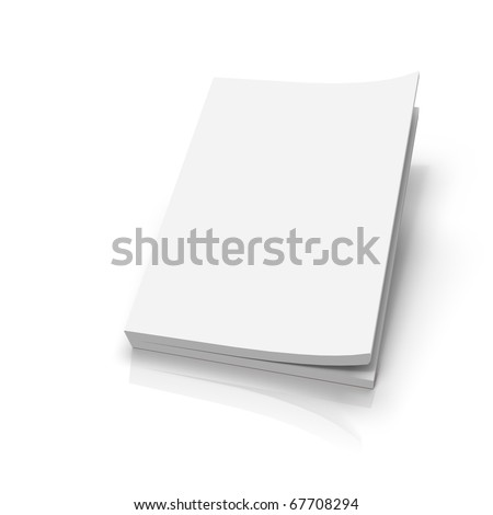Slightly opened soft cover isolated on white backgroudn
