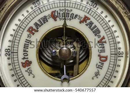 Slightly simplified image of a vintage barometer forecasting a change in the weather. Connotations of climate change and global warming.