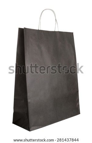 Slightly used black paper bag isolated on white background - stock photo