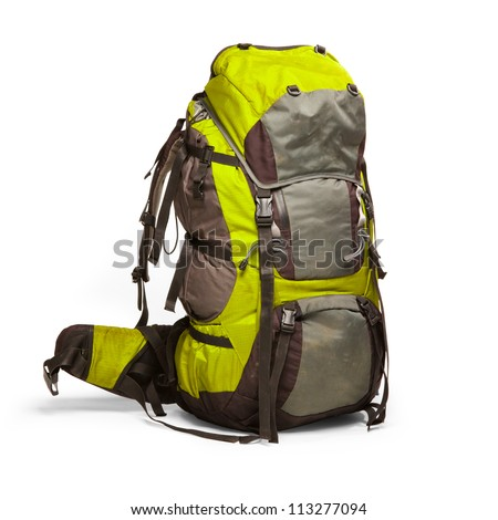 Slightly used tourist backpack isolated on white. Isolation path included - stock photo