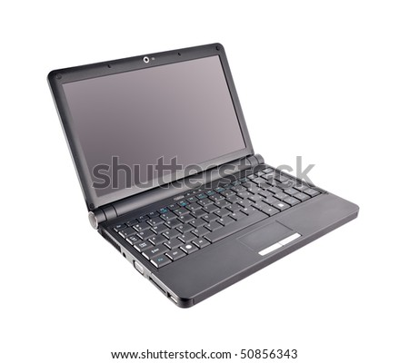 Slim black netbook over white background