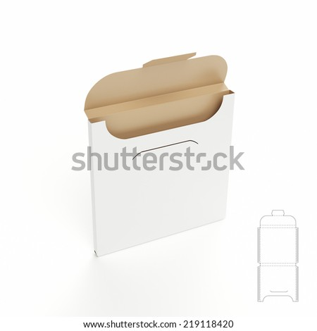 Slim Box with Die Cut Template - stock photo